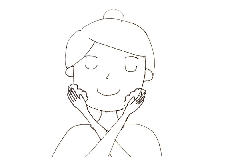 顎の左右の洗い方